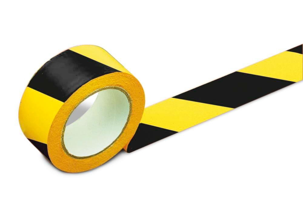 Floor marking tape, 75 mm wide, yellow/black, 2 rolls