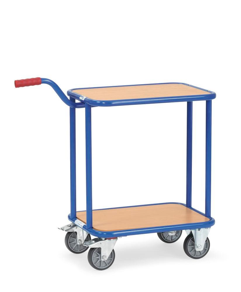 GR2 Trolley with handle in plastic coated sheet steel, 2 levels, solid rubber tyres