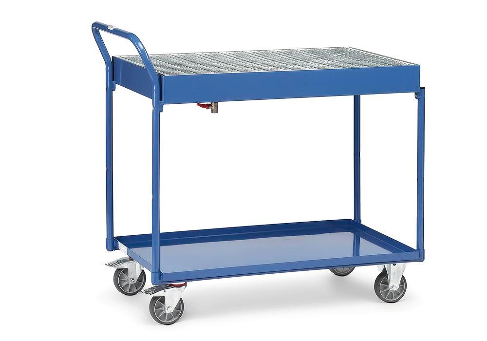 Mobile work table TW 1G made of plastic-coated sheet steel, with 2 steel trays and grid cover