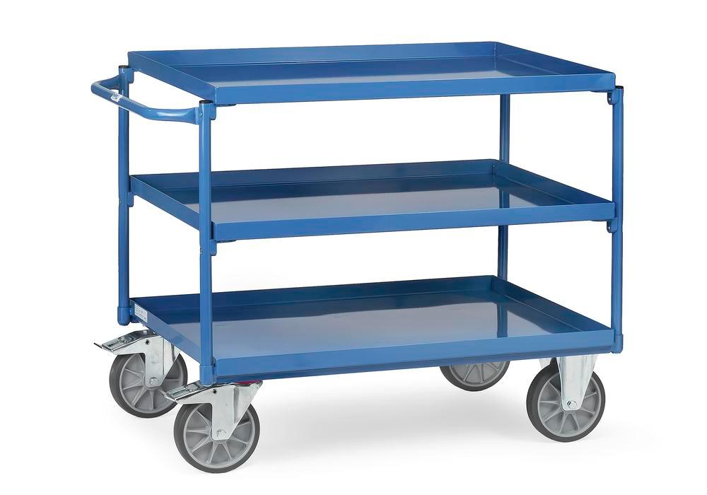 Mobile work table TW 2X made of plastic-coated sheet steel,3 steel trays 700x1000 mm,locking device