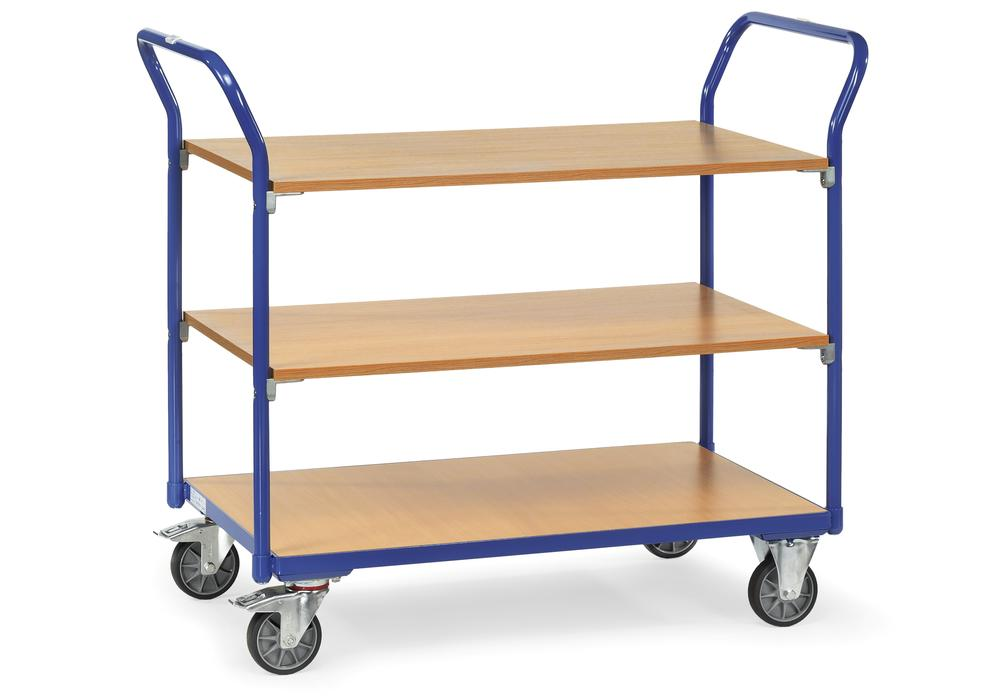 Multipurpose trolley ETA 3 in precision tubular steel, with 3 shelves, solid rubber tyres