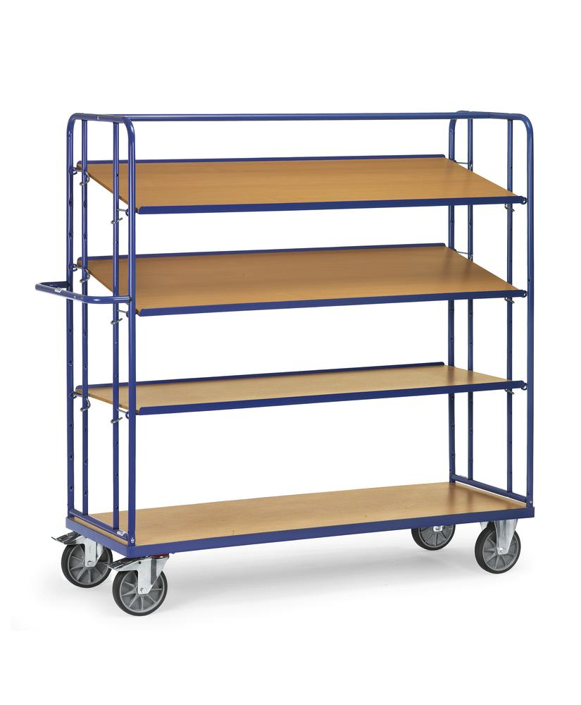 Tiered trolley RW 12 with 4 levels, for up to 3 boxes per level