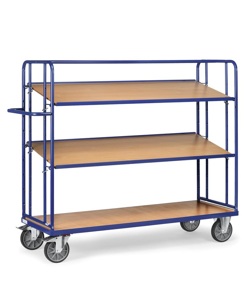 Tiered trolley RW 16 with 3 levels with MDF shelves and space for up to 4 boxes per level