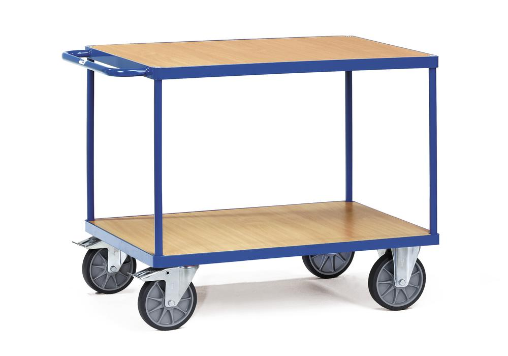 Workshop trolley TWP 4 in sheet steel with 2 wooden shelves with treated surface