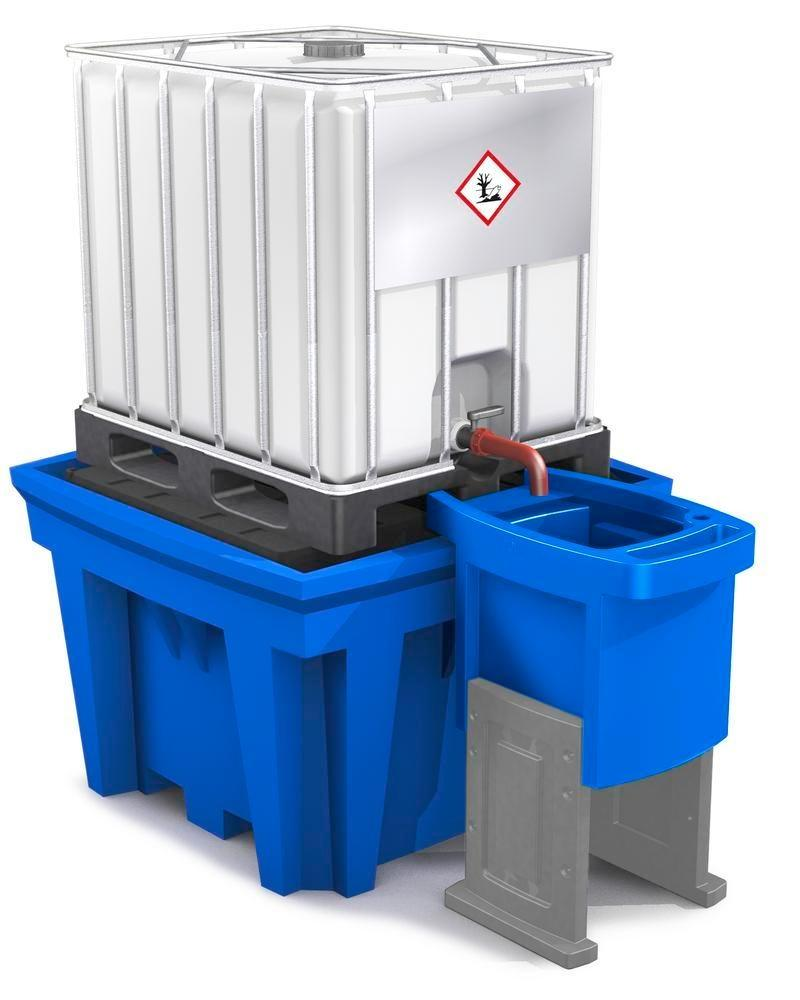 Dispensing tray for IBC spill pallets, height adjustable, with two feet