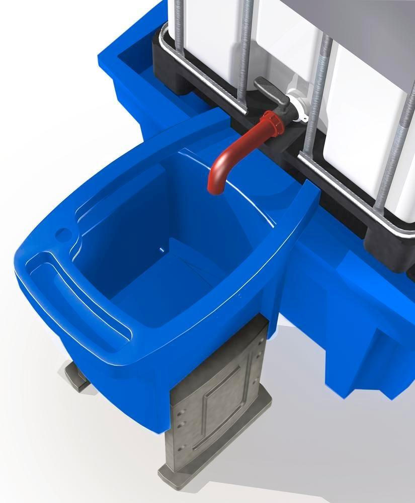 Dispensing tray for IBC spill pallets, height adjustable, with two legs