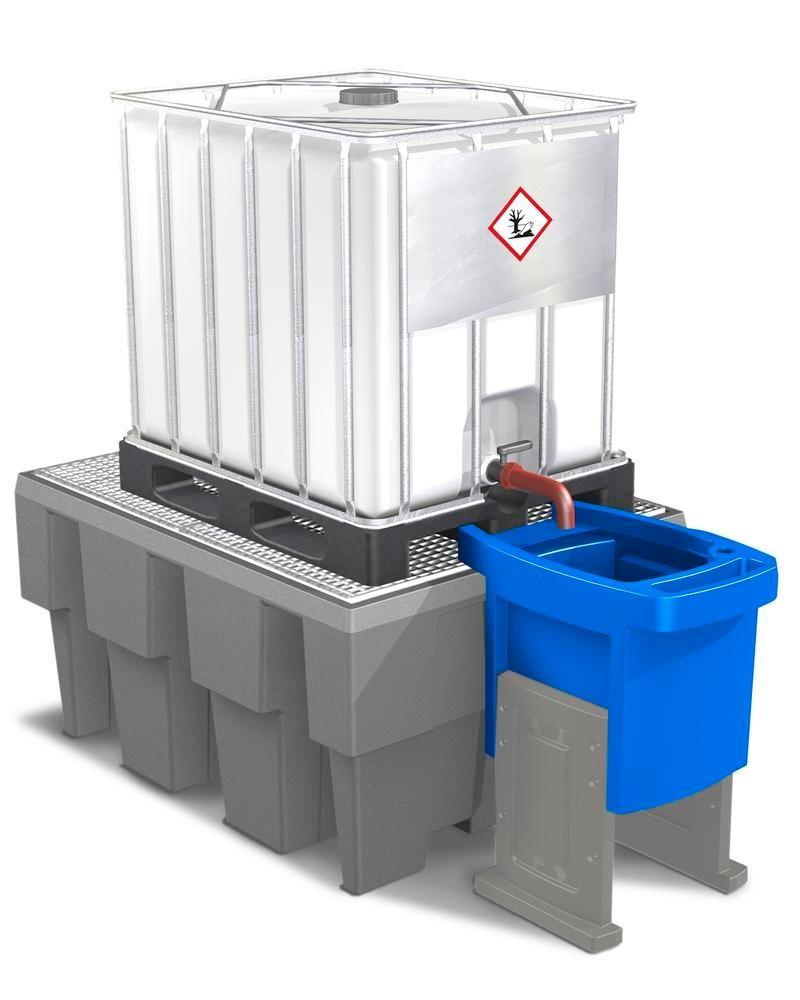 Dispensing tray for IBC spill pallets, height adjustable, with two legs - 3