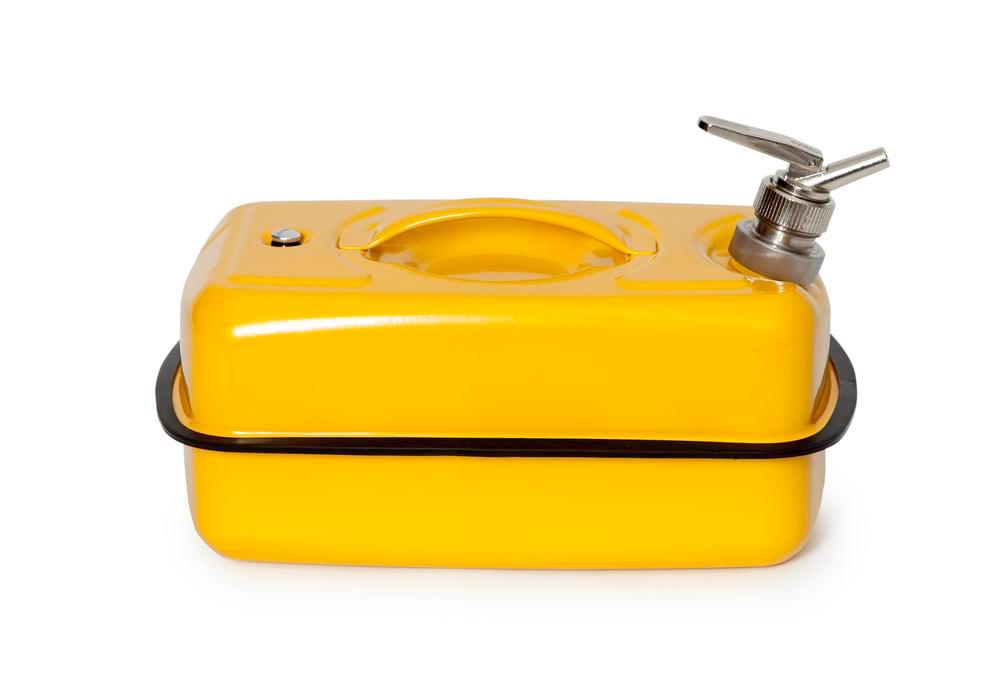 FALCON safety container in steel, painted, with fine dosing tap, 10 litres