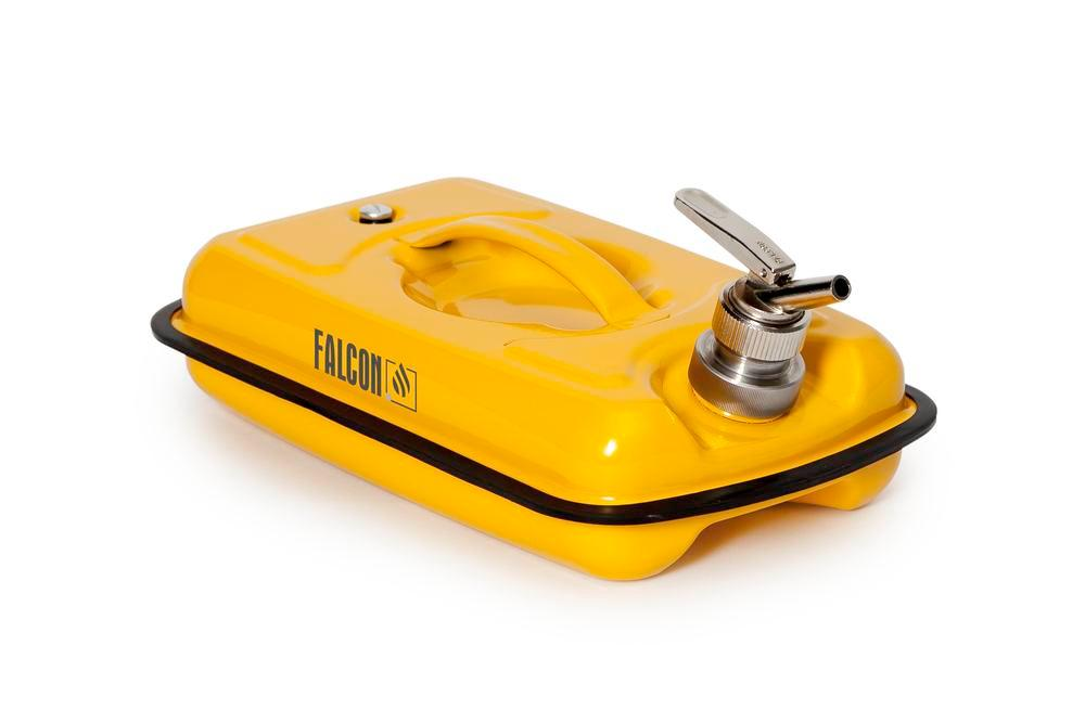 FALCON safety container in steel, painted, with fine dosing tap, 5 litres