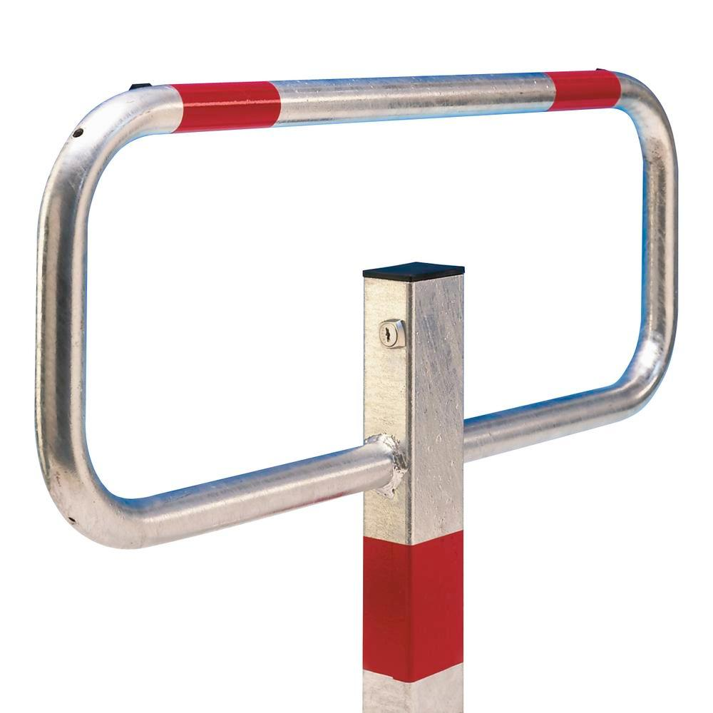 Folding post, hot dip galvanised, 3 reflective red rings, cylinder lock for concreting in - 1