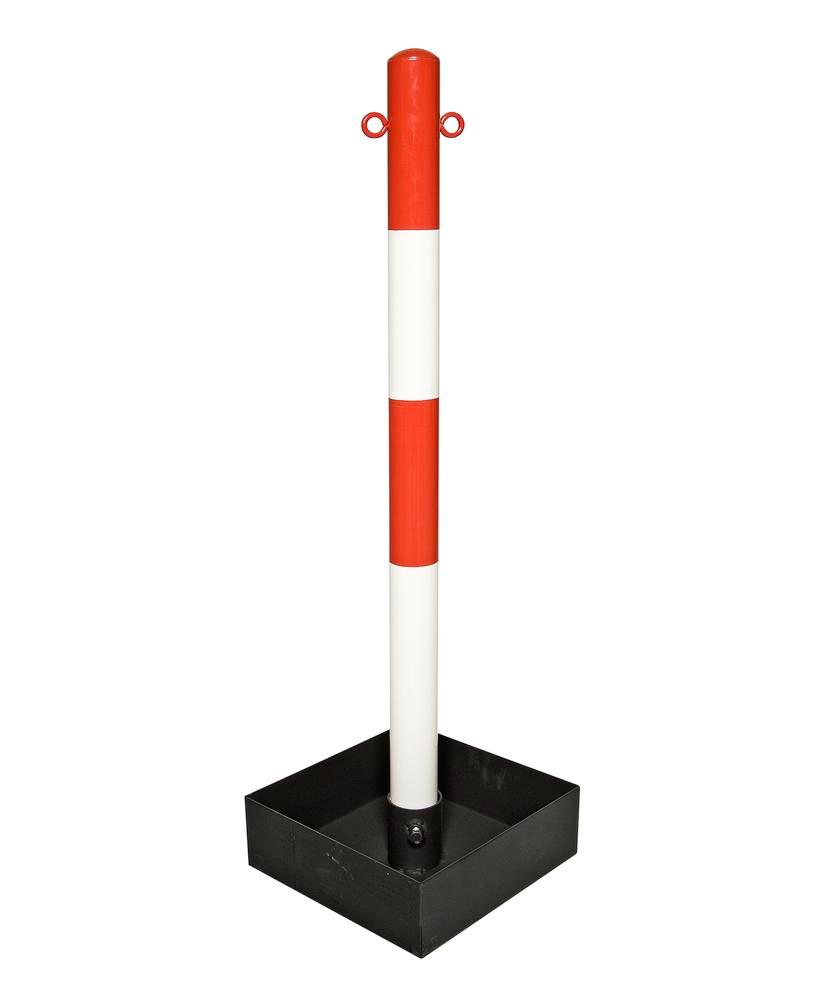 Heavy duty chain barrier post, red/white, base tray without handle, 1000 mm high - 1