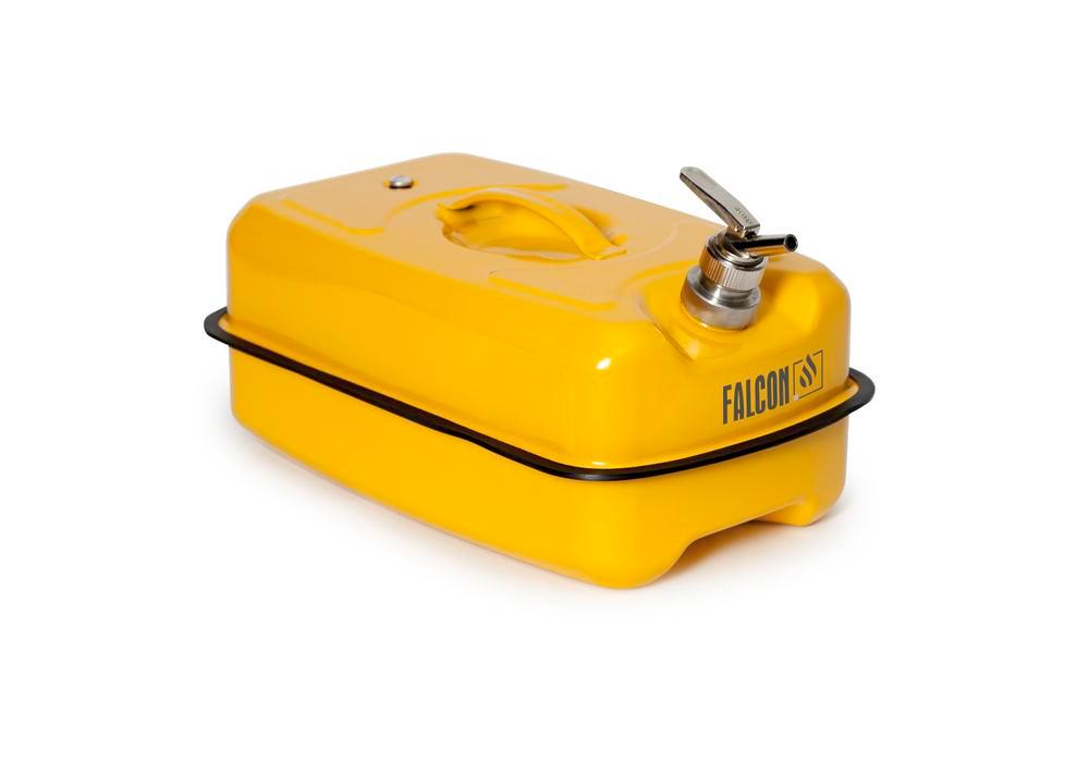 Safety containers in steel, with fine dosing Tap, yellow, 20 litre