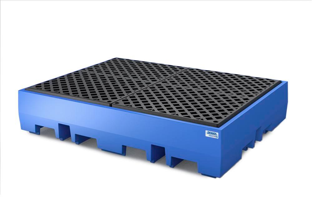 Spill pallet classic-line in polyethylene (PE) for 4 drums, with PE grid, 1720x1300x350