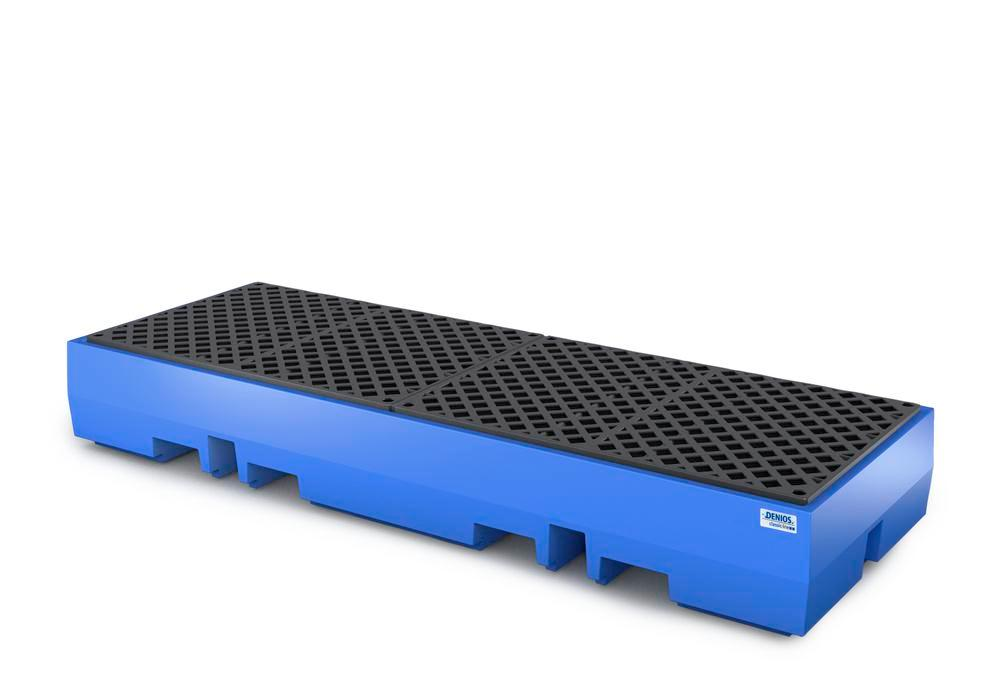Spill pallet classic-line in polyethylene (PE) for 4 drums, with PE grid, 2520x900x350