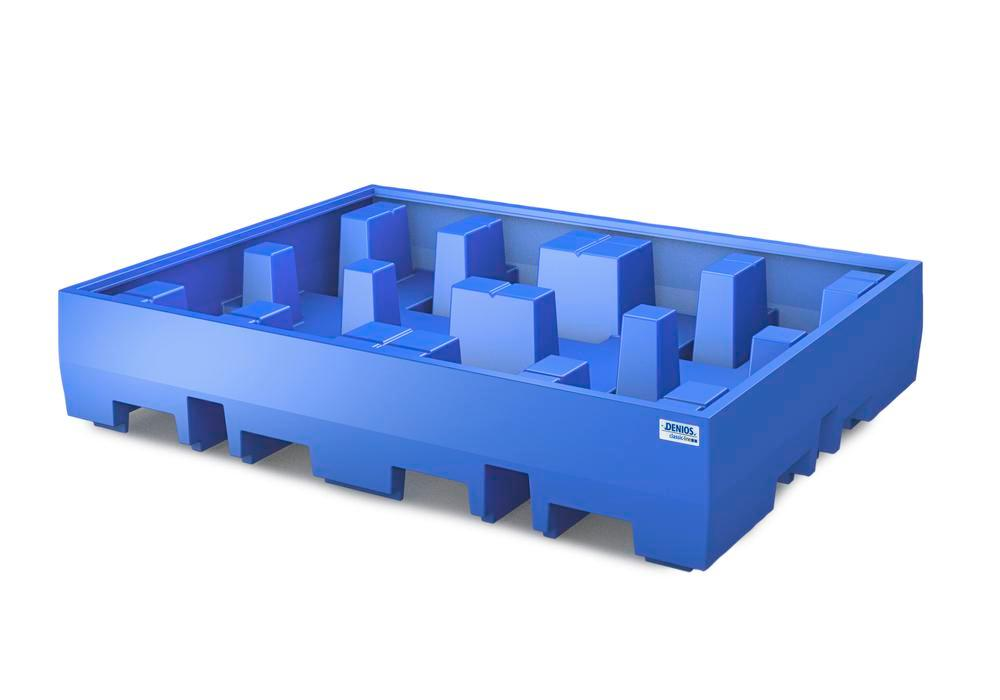 Spill pallet classic-line in polyethylene (PE) for 4 drums, without grid, 1720x1300x350