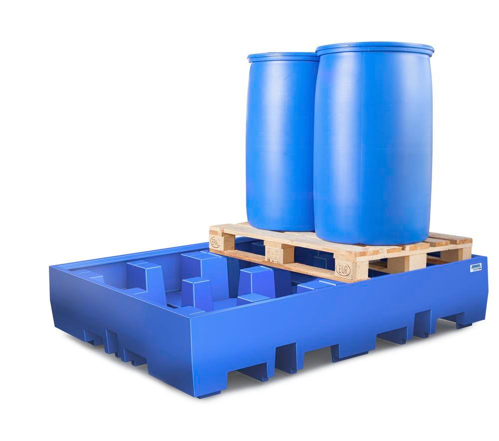 Spill pallet classic-line in polyethylene (PE) for 4 drums, without grid, 1720x1300x350 - 2