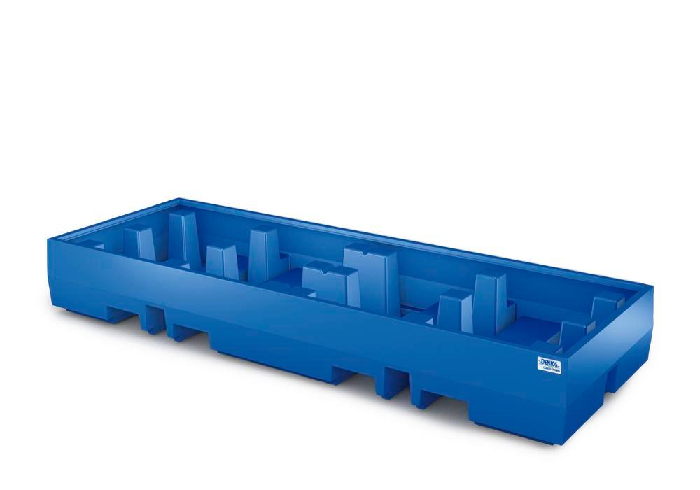 Spill pallet classic-line in polyethylene (PE) for 4 drums, without grid, 2520x900x350