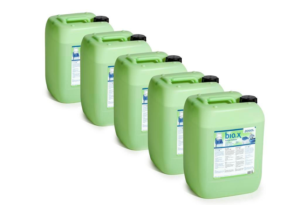 Cleaning fluid for parts cleaning table bio.x, starter set, 5 x 20 litre canisters