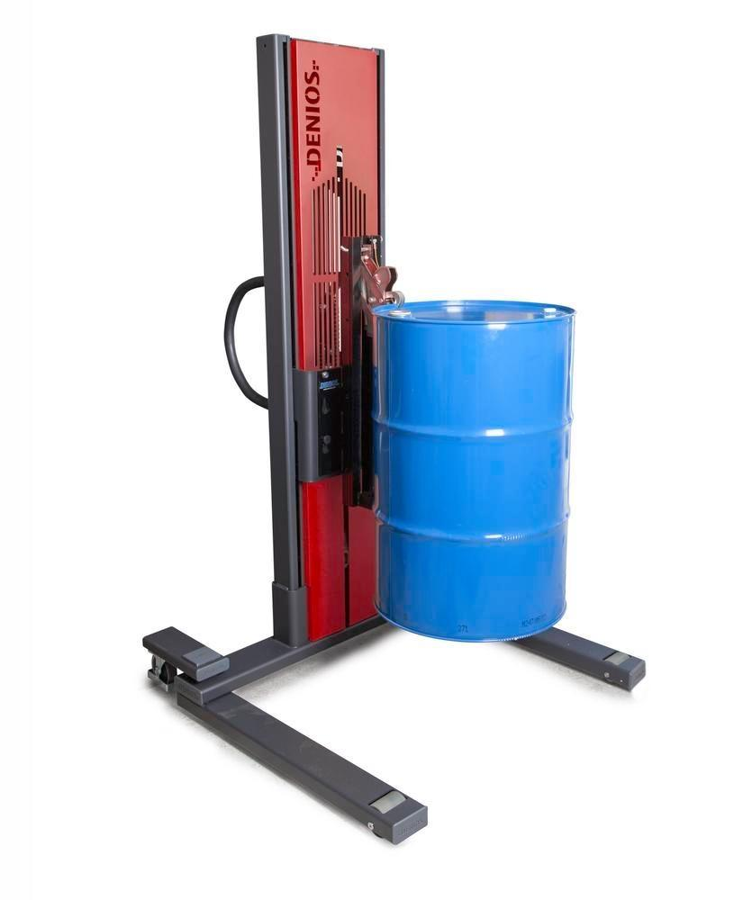Drum lifter Secu Ex, drum gripper, 60 to 205 l steel drums, wide chassis, lift height 0-1405mm, ATEX