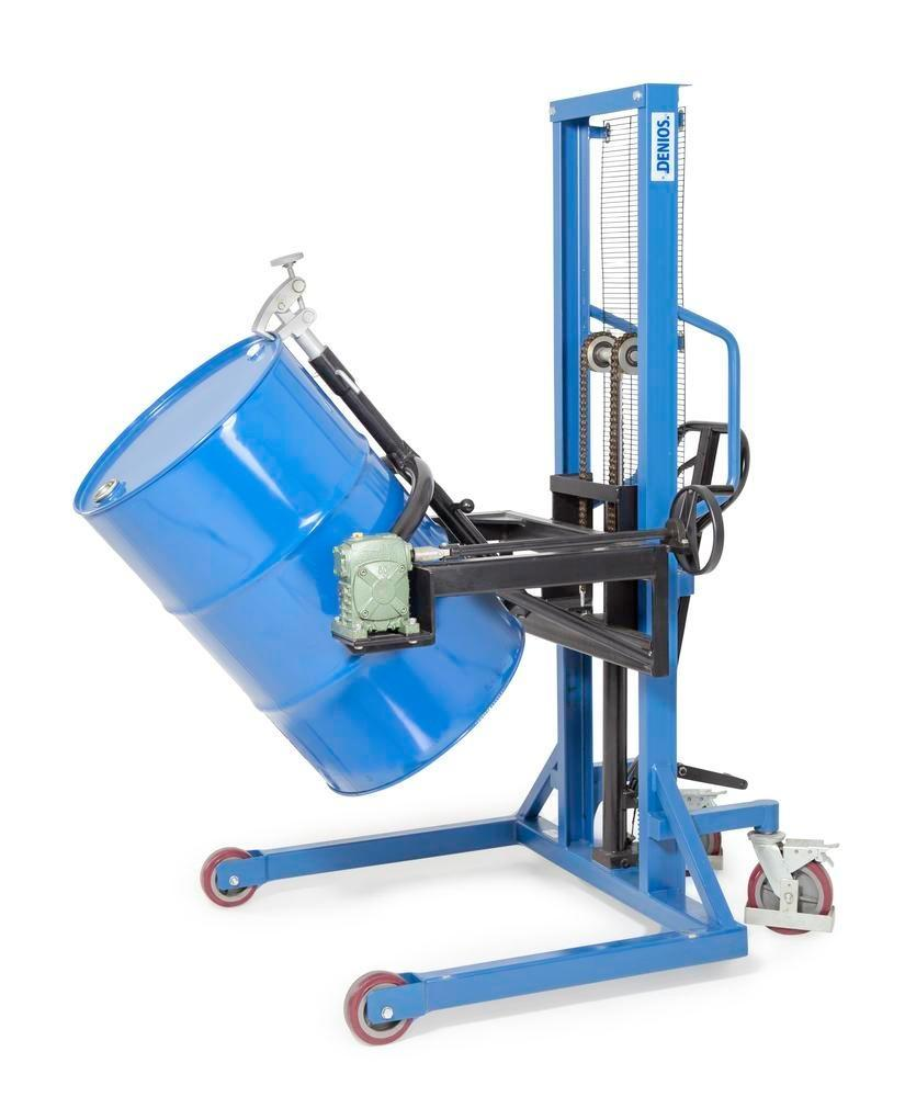 Drum lifter Servo, drum turner 180, 205 litre steel drums, wide chassis, lift height 0-1270 mm