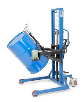 Drum lifter Servo, drum turner 180 , 205 litre steel drums, wide chassis, lift height 0-1270 mm-w280px