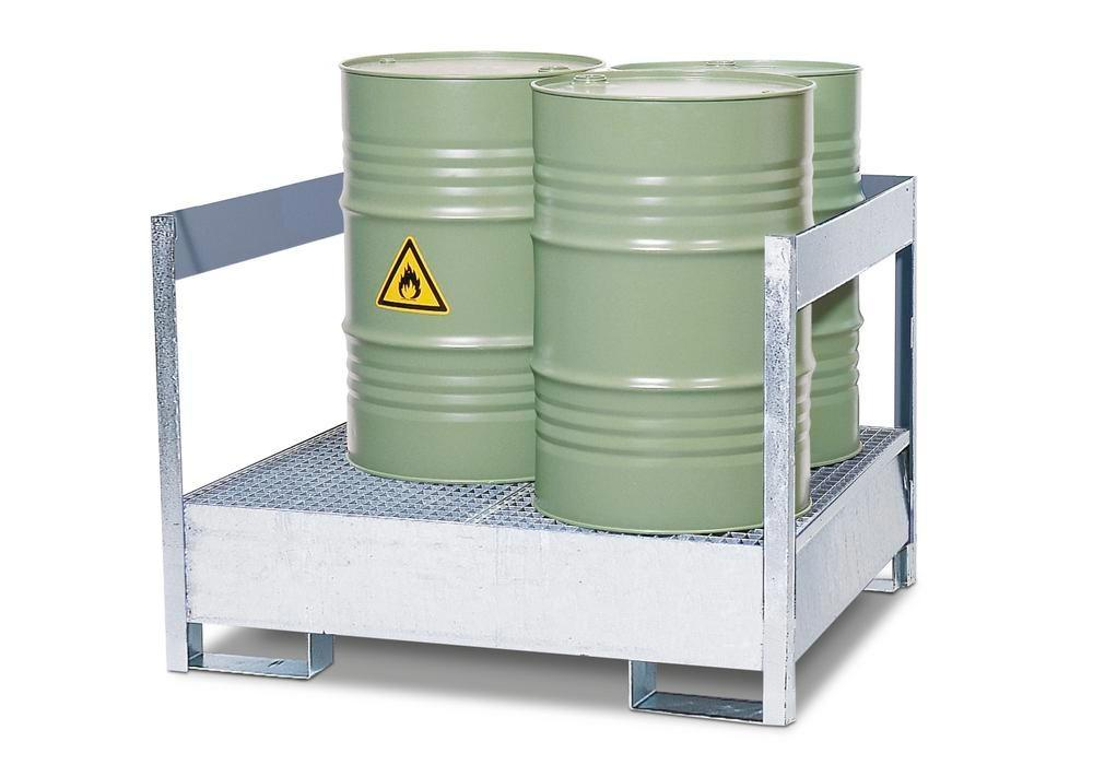 Drum storage unit 2 P2-P, galvanized steel, non-stackable, for 2x205 litre drums