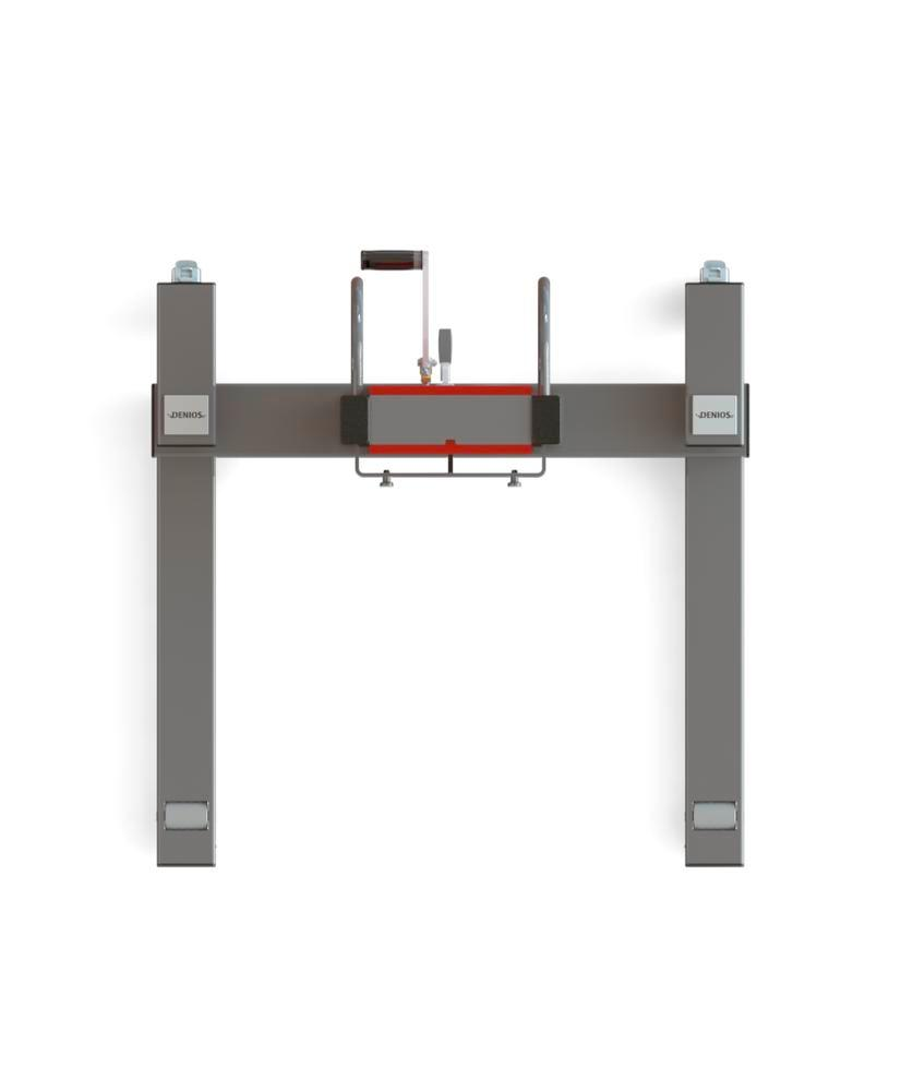 Secu drive drum lifter, wide wheelbase, H 2135 mm, model W, for 60 to 220 litre drums, electric lift