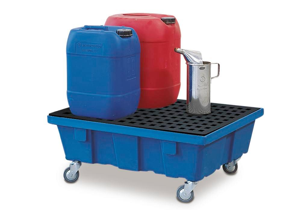 Spill tray for small containers classic-line in polyethylene (PE) with castors and PE grid, 60 litre - 1