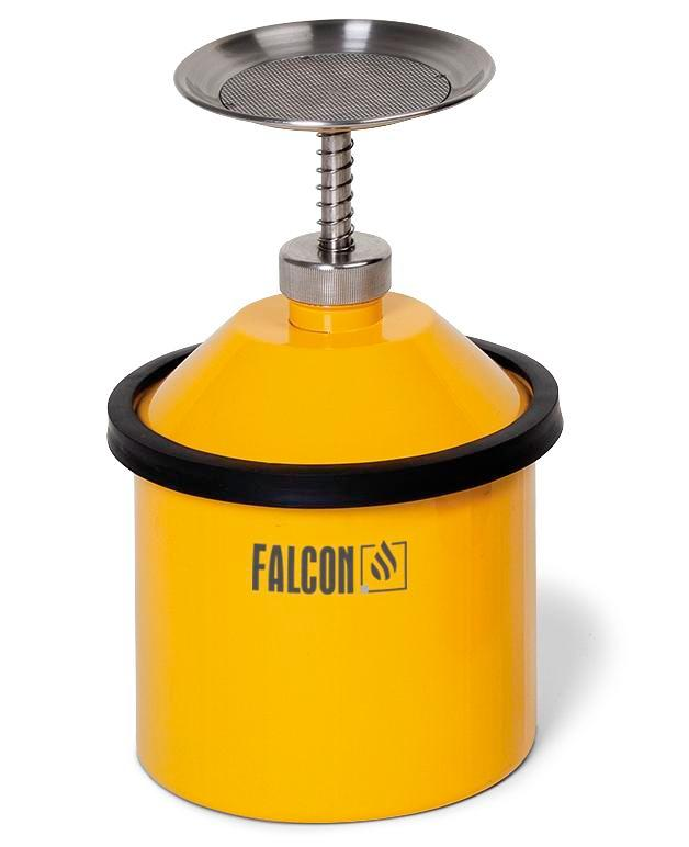 Steel plunger can with top plate, pump and protection ring, 2.5 litre, galvanised and yellow coated