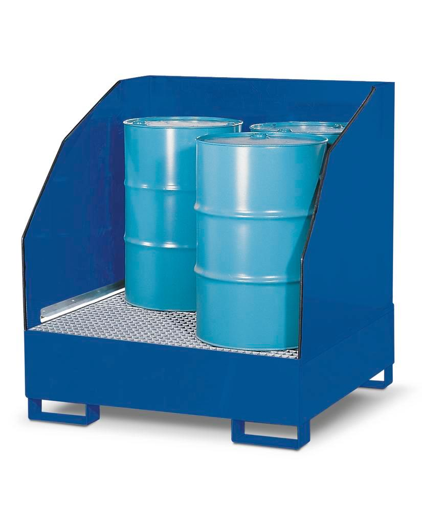 Sump pallet with 3 sides 4GST-K, painted steel, 3 sided spray protection, for 4 x 205 litre drums