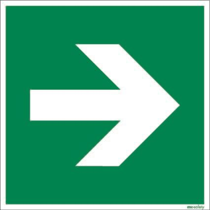 "Emergency sign ""Arrow"", ISO 7010 / ASR 1.3, aluminium 200 mm x 200 mm"