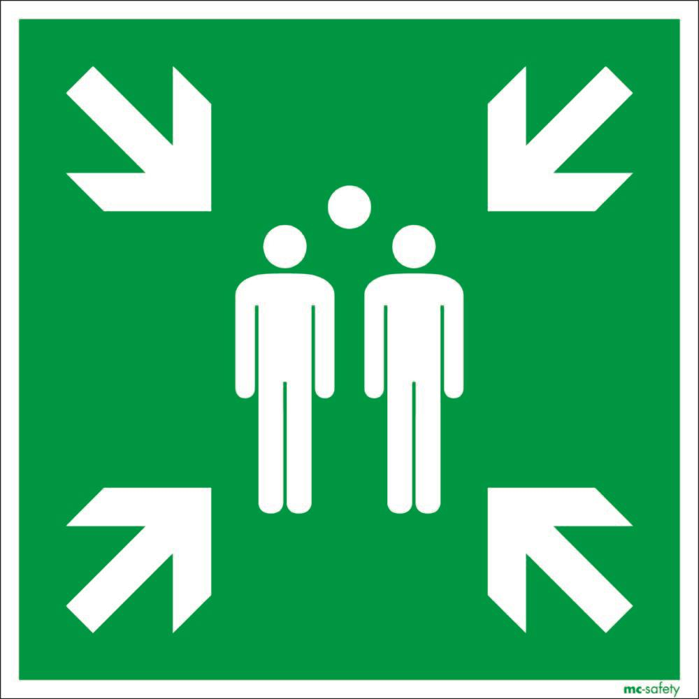 "Emergency sign ""Assembly point"", ISO 7010 / ASR 1.3, foil 600 mm x 600 mm - 1"
