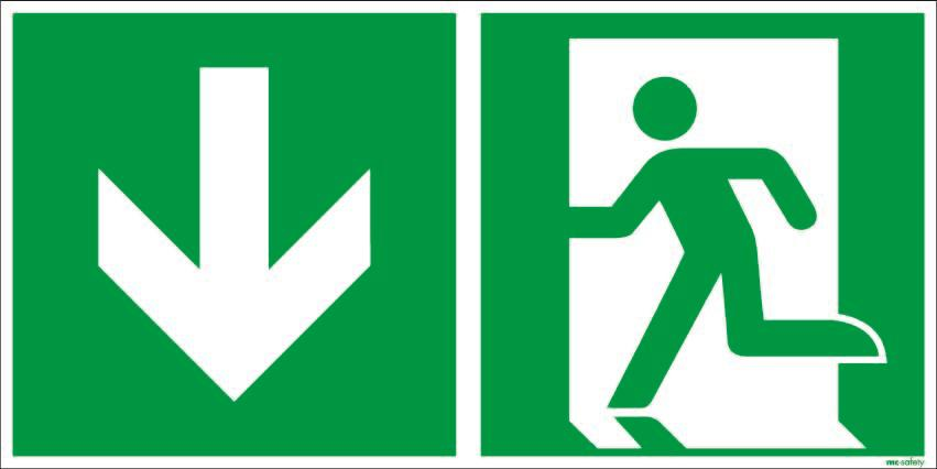 "Emergency sign ""Emergency exit"", ISO 7010 / ASR 1.3, foil 300 mm x 150 mm"