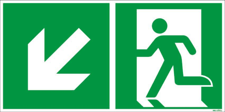 "Emergency sign ""Emergency route left downwards"", ISO 7010 / ASR 1.3, aluminium 300 mm x 150 mm"