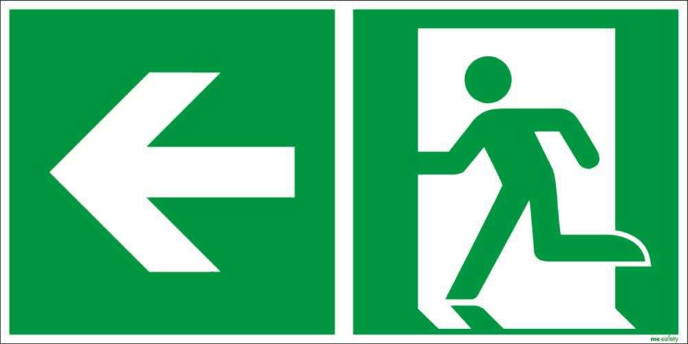 "Emergency sign ""Emergency route left"", ISO 7010 / ASR 1.3, foil 400 mm x 200 mm"