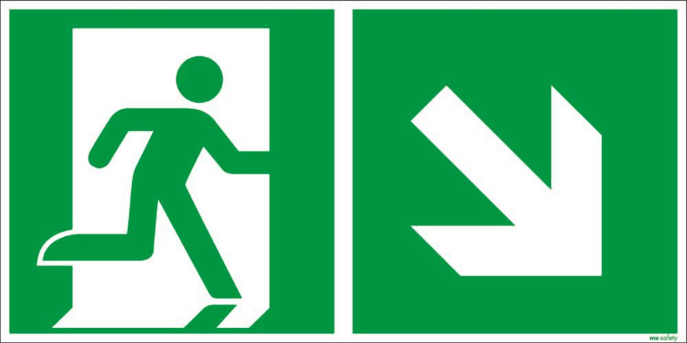"""Emergency sign """"Emergency route right downwards"""", ISO 7010 / ASR 1.3, foil 400 mm x 200 mm - 1"""