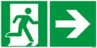 "Emergency sign ""Emergency route right"" in accordance with ISO 7010, foil, 300 x 150 mm, luminescent"