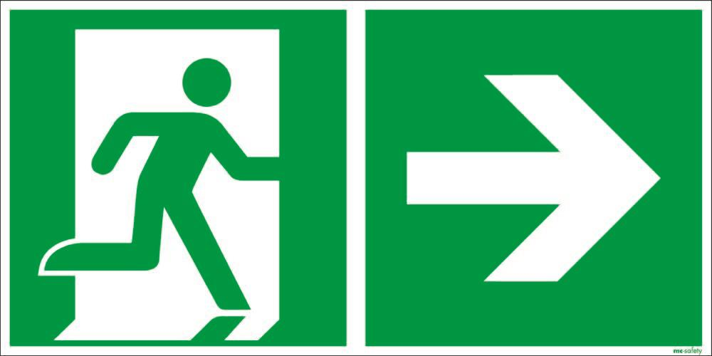 """Emergency sign """"Emergency route right"""", ISO 7010 / ASR 1.3, aluminium 400 mm x 200 mm - 1"""