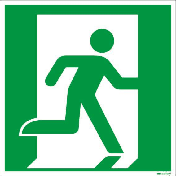 """Emergency sign """"Emergency route right"""", ISO 7010 / ASR 1.3, foil 200 mm x 200 mm"""