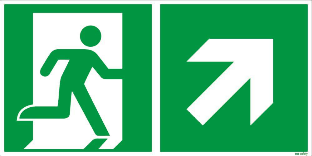 """Emergency sign """"Emergency route right upwards"""", ISO 7010 / ASR 1.3, foil 400 mm x 200 mm"""