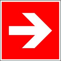 "Fire protection sign ""Arrow"", ISO 7010 / ASR 1.3, aluminium 150 mm x 150 mm"