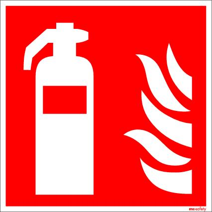 "Fire protection sign ""Fire extinguisher"", ISO 7010 / ASR 1.3, aluminium 150 mm x 150 mm"