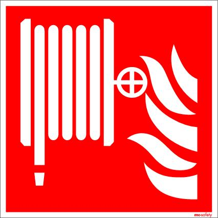 """Fire protection sign """"Fire hose"""", ISO 7010 / ASR 1.3, aluminium 150 mm x 150 mm - 1"""