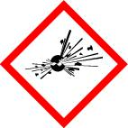 "GHS 01 sign, symbol ""Exploding bomb"", foil, 21 x 21 mm, sheet of 35 labels"