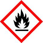 "GHS 02 sign, symbol ""Flame"", foil, 21 x 21 mm, sheet of 35 labels"