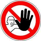"""Prohibition sign """"No unauthorised access"""""""", ISO 7010, foil, 200 mm"""