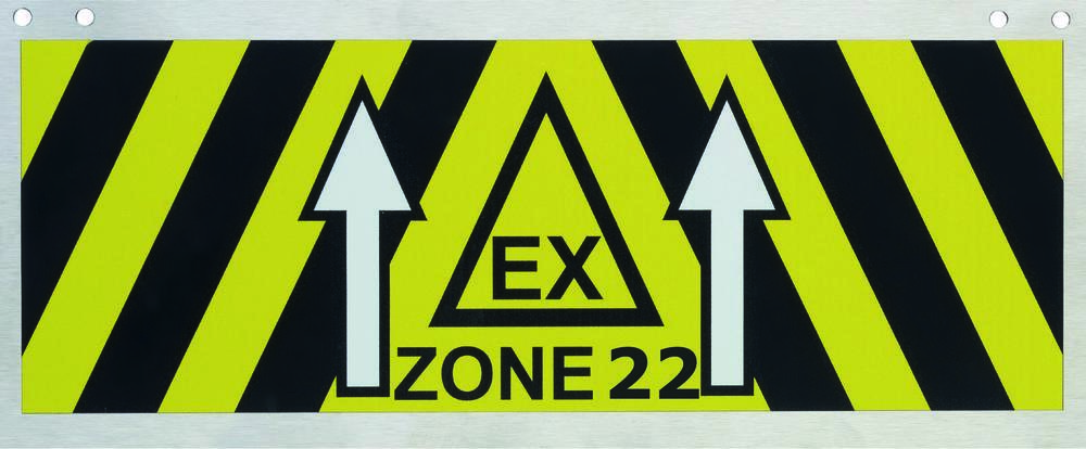 Zone identification sign in stainless steel, 270 x 110 mm, Ex zone 22