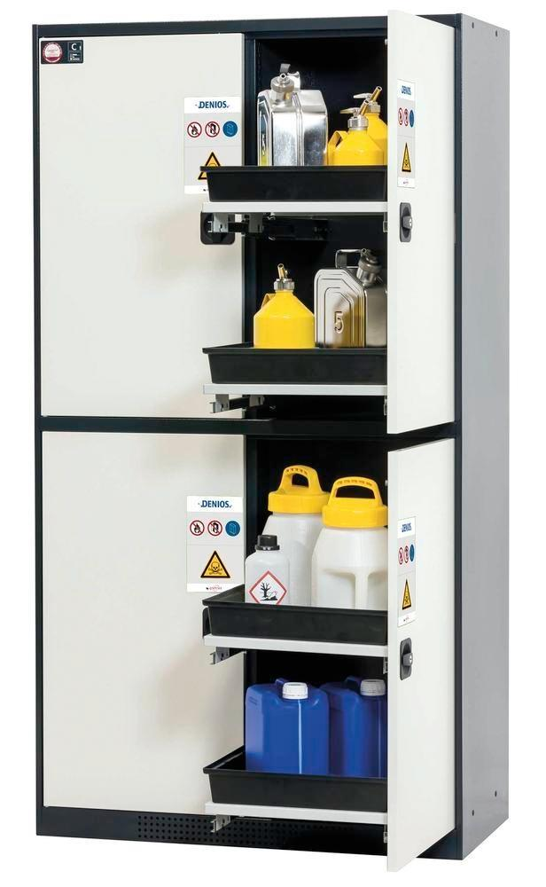 asecos combi cabinet Quadro, anthracite/white, 4 bays, each with 2 pull-out shelves, Model 124-8