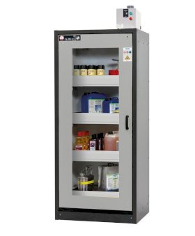 asecos hazmat cabinet Basis-Line, 4 slide-out spill trays, glass door, anthracite/grey Model 30-94,-w280px