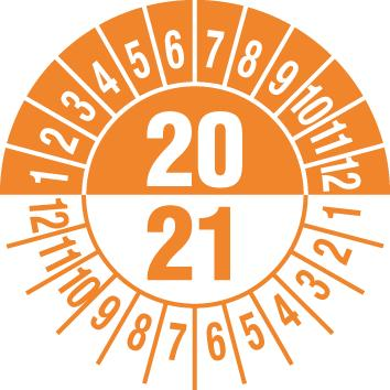 "Test sticker ""20/ 21"", orange, film 30mm, sheet/15 stickers"
